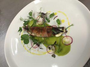 Grilled sardines, wild garlic, pancetta & avocado